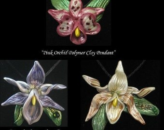 Polymer Clay Orchid Pendant You Design