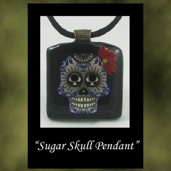 polymer clay Sugar Skull Pendant mha bhv ogld ooak  wearable art