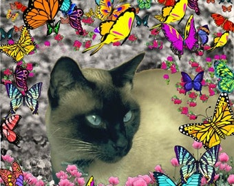 Stella in Butterflies I - ACEO Edition, Siamese Cat Art Card