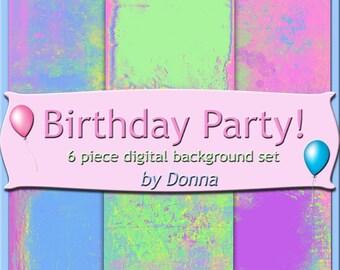 Birthday Party Digital Background Set