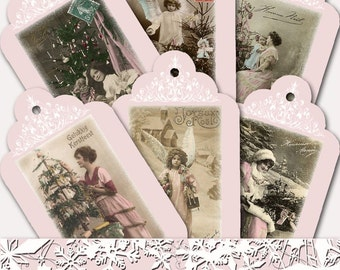 Vintage Pink Christmas Digital Hang Tag Sheet