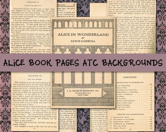 Alice Book Pages ATC Backgrounds