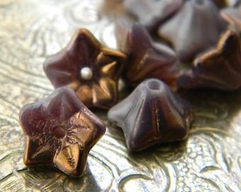 Bronzed Lilac Blossoms (10) -Czech Glass Bell Flowers 9x6mm