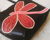 Free Shipping Black Handbag with red dragonfly embroidered