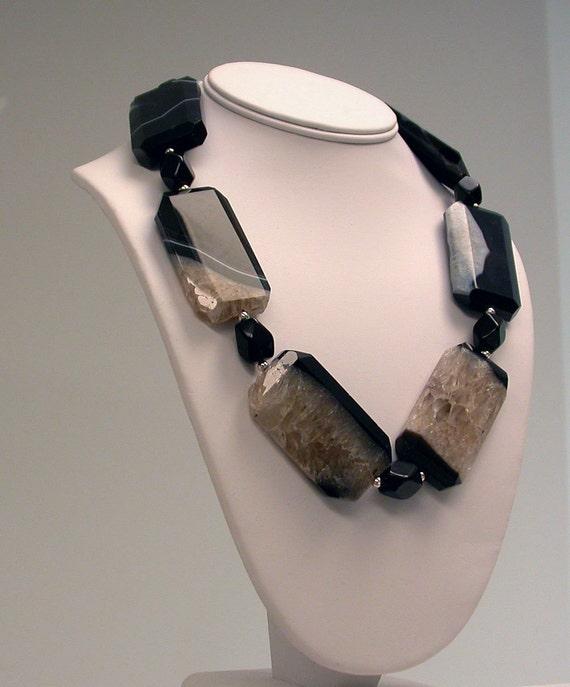 Dramatic Onyx Druzy Necklace - jewelry to be noticed