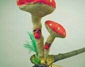 Spun Cotton Mushrooms Clip Ornament