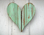 Recycled Wood Mint Green Heart