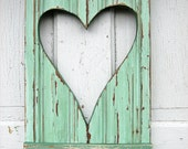 Reclaimed Wood Mint Green Heart Shutter