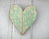 Mint Green Wooden Heart