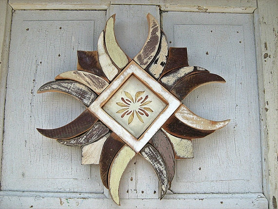 Wood Mosaic Framed Tile Reclaimed Wood Art Neutral Decor