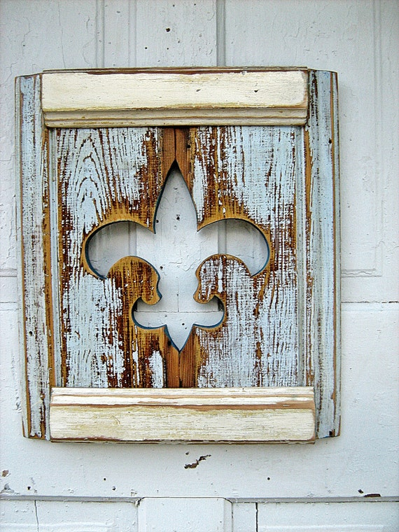 Ice Blue Fleur de Lis Salvaged Wood Wall Art