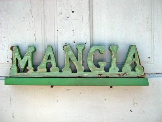 Reclaimed Wood Mangia Sign Italian Kitchen