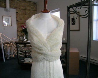 Wedding Winter / Fall Wrap in natural white