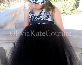 Black Flower Girl Dress . Damask Dress