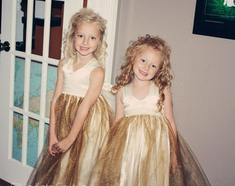 Flower Girl Dresses Gold Shimmer Gold Tutu gowns Ivory