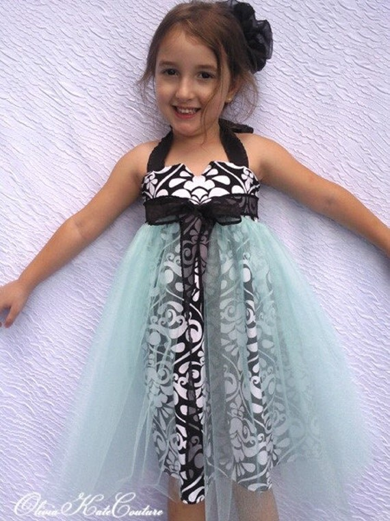 Flower Girl Dress . Peek-a-Boo Style Tulle Skirt . Damask and Aqua . Olivia Kate Couture