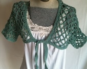 OOAK Hand Crocheted Lightweight Lace Spring Summer Shrug in Green and Sky Blue