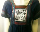 Vintage Navy Blue Seventies Hippie Boho Caftan Maxi Dress by Meo Fashions