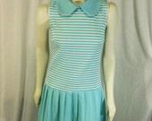 Vintage Light Blue Stripes and Polka Dots Classic Mod 1960s Dropped Waist Dress