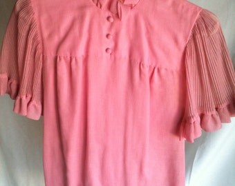 vintage pink dress with ruffles CUTE