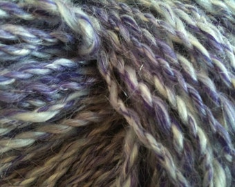 OOAK skein of LUXE ROYAL purple white mix handspun 2 ply Art Yarn 78 yards wool mohair bamboo