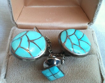 Vintage Navajo STM Sterling Silver With Inlaid Turquoise Cuff Links and Tie Tack Gift Set In Box Like New