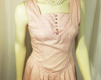 Vintage Classic 1950s 1960s Pink Spring Summer Formal Dress With Rhinestone Buttons