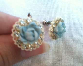 Vintage Light Blue Rose Clip on Earrings with Rhinestones
