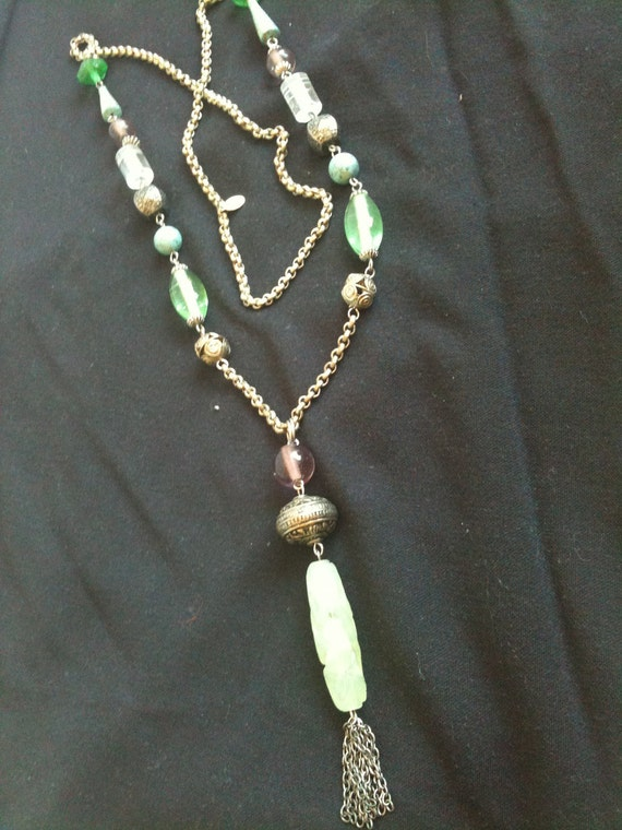 Vintage High End Designer Extra Long Beaded Necklace ANN CICHON Faux Jade Silver Tone Costume