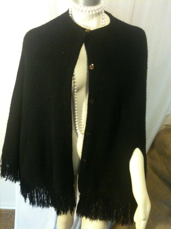 Vintage Seventies Sweater Coat Cape Cardigan With Fringe in Black Hippie Boho Trendy