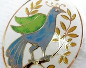 LAST one -  Vintage Spring Enamel Peacock Bird and Flower Pendant (E560)