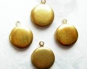 Vintage Raw Brass Engraving Lockets (12x) (L512-A)