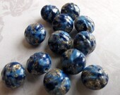 Vintage Speckled Blue Gold And White Lucite Plastic Beads (24X) (B632)