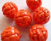 Vintage West German Lucite Orange Coral Rock Beads  (6X) (B556)