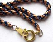 Vintage Copper And Blue Enamel French Rope Chain Necklaces With Spring Clasps (20 inches) (2X) (C658)