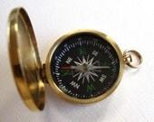 Huge Raw Brass Working Compass Pendant (1X) (J602)