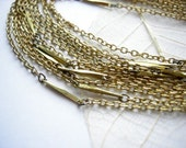 Vintage Brass Bar And Cable Chain Necklaces (16 inches)  (C528)