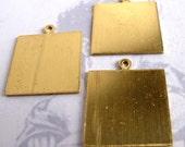 Raw Brass Square Engravable Pad Pendants (4X) (M566)