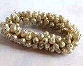Vintage Faux Pearl Plastic Beaded Charms (24X) (B577)