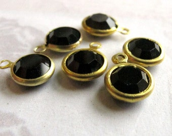 Vintage Jet Black Swarovski Rhinestone Crystal Channel Charms (12mm) (6X) (S570)
