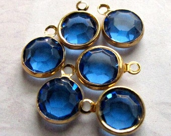 Vintage Sapphire Blue Swarovski Rhinestone Crystal Channel Charms (12mm) (6X) (S523)
