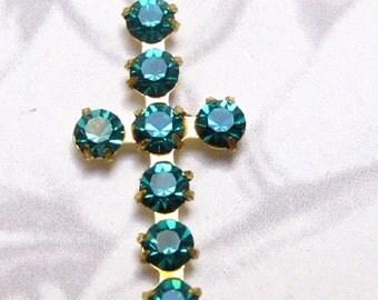 Vintage Swarovski Blue Zircon Crystal Brass Cross Charms (2X) (S543)