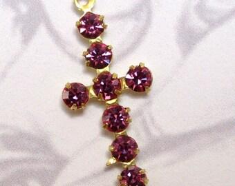 Vintage Swarovski Crystal Pink Brass Cross Charms (2X) (S548)
