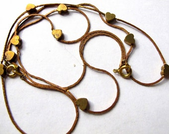 Vintage Brass Heart Snake Chain Necklaces (2X) (C605)