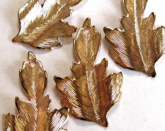 Vintage Gold Plated Leaf Charms (10X) (V419)