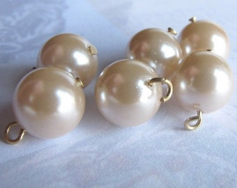 Vintage Japanese Pink Faux Pearl Glass Shabby Chic Pink Beaded Charms (16X) (B613)