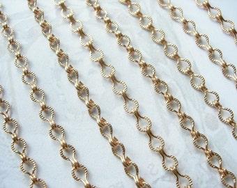 Unique Vintage Raw Brass Textured Ladder Chain (3 feet) (C506)
