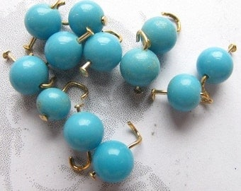 Vintage Japanese Turquoise Blue Beaded Glass Charms (12X) (B627)