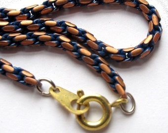 Vintage Copper And Blue Enamel Snake Chain Necklaces With Spring Clasps (2X) (C664)