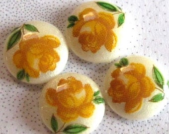 Vintage Japanese Glass Limoge Cabochons With A Yellow Rose Decal (8X) (CB536)